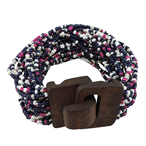 (COIRIS Wooden Buckle Clasp Multi Layers Beads Wide Bracelet for Women With Elastic (BR1167-royal blue))