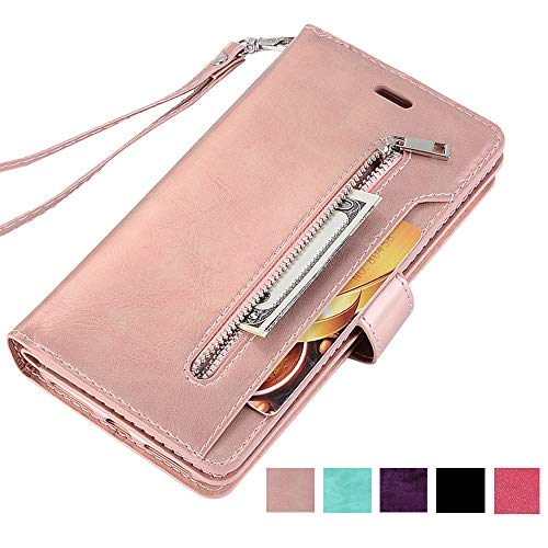 ZCDAYE Galaxy S10 Plus Zipper Wallet Case,Premium Magnetic Multi-Functional Handbag Dual Folio PU Leather Stand Flip Case Cover with [Card Slots][Wrist Strap] for Samsung Galaxy S10 Plus,Rose Gold