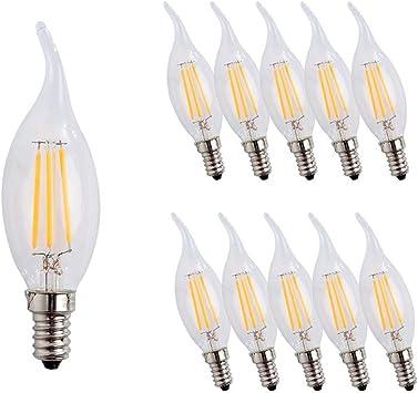 Bombillas Filamento LED E14, Forma de Vela, 4W Equivalente a 40w, Blanco Cálido 2700K / 400 Lúmenes / AC 200-240V , No regulable, Pack de 10 Unidades: Amazon.es: Iluminación