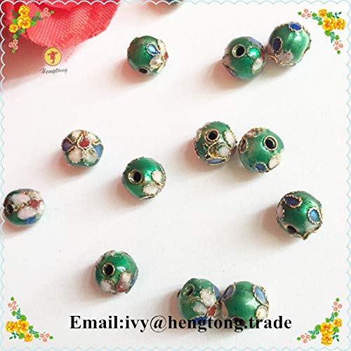 Calvas ping Wholesale Beautiful Rosary Necklace & Bracelet Parts Round Cloisonne Beads, Jewelry Bead Accessory with Flower