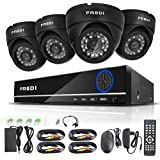 FREDI 4CH Security Camera System Full 960H DVR with 4 x 800TVL Superior Night Vision IR Cut Leds indoor CCTV Camera (P2P Technology/E-Cloud Service,Without Hard Drive)