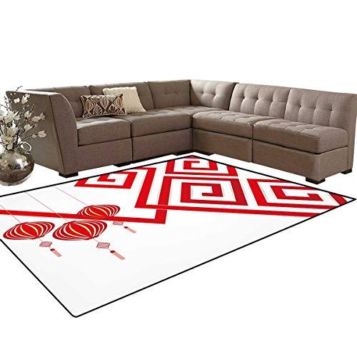 Lantern Kids Carpet Play-mat Rug Chinese Cultural Elements with Abstract Vortexes Modern Art with Classical Print Room Home Bedroom Carpet Floor Mat 6'6