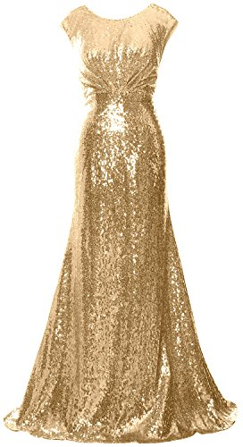 MACloth Women Long Bridesmaid Gown Cap Sleeve Sequin Formal Party Evening Dress Champagne