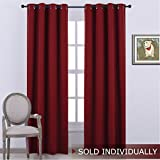 NICETOWN Window Blackout Curtain Panels - Thermal Insulated Solid Drape / Rideau for Bedroom (1 Panel,52 x 95 Inch Long,Burgundy Red)
