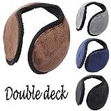 Livoty Ear Muffs, behind The Head Style Winter Earmuffs Double Deck Knit Cashmere Winter Outdoor Earmuffs With Ear Warmer for Men & Women (Coffee)