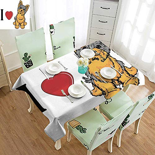 SEMZUXCVO Leak-Proof Long Tablecloth Yorkie I Love Yorkshire Terrier Cute Dog Smiling Animal Tilted Head Love Print Party W60 xL102 Marigold Light Grey ()