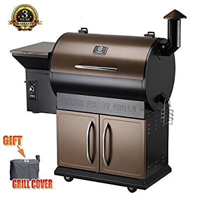 Z Grills Wood Pellet Grill & Smoker with Patio Cover,700 Cooking Area 7 in 1- Grill, Smoke, Bake, Roast, Braise and BBQ with Electric Digital Controls for Outdoor (Black and Bronze) from fabulous Z Grills