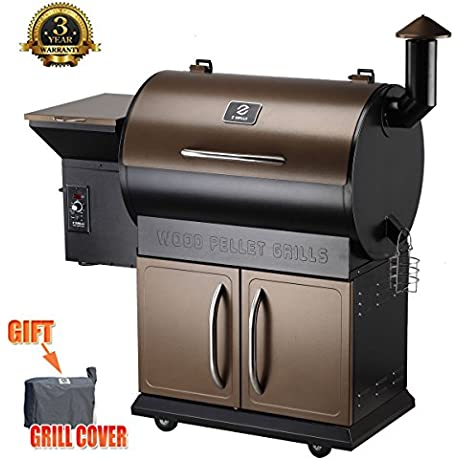 Z Grills Wood Pellet Grill Smoker With Patio Cover 700 Cooking Area 7 In 1 Grill Smoke Bake Roast Braise And BBQ With Electric Digital Controls For Outdoor Black And Bronze