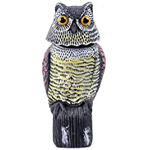 Ohuhu Horned Owl Pest Deterrent Rotating Head Scarecrow Pest Control Repellents Owl Decoy