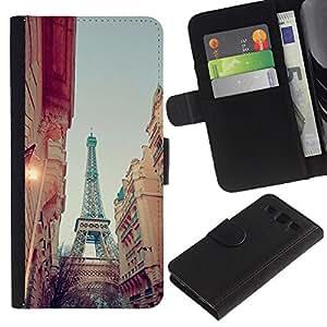 APlus Cases // Samsung Galaxy S3 III I9300 // París Eiffel la calle vista Cielo Noche // Cuero PU Delgado caso Billetera cubierta Shell Armor Funda Case Cover Wallet Credit Card