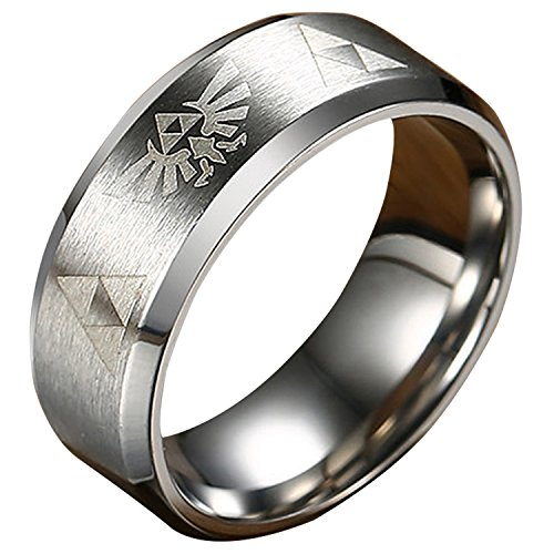 Nanafast 8mm The Legend of Zelda Triforce Ring, Stainless Steel Matte Finished Bands Silver Size 10