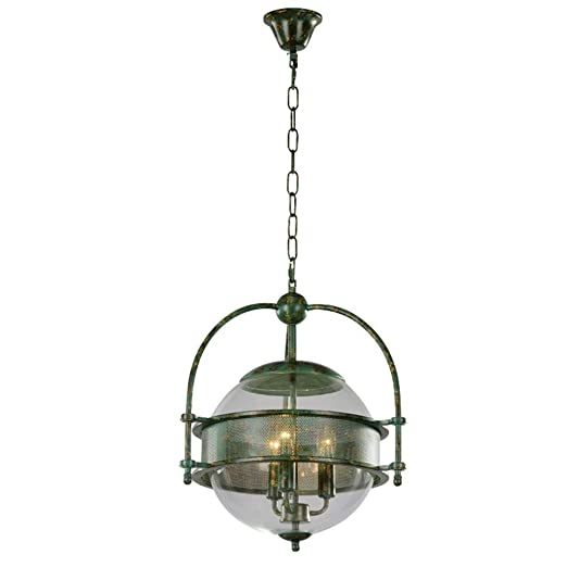 Chandeliers Vintage Retro Industrial Round Green Iron Art