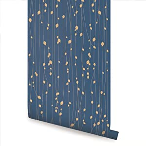 Leaves Blue Peel & Stick Fabric Wallpaper Repositionable ...