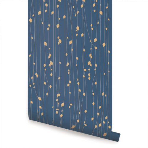 (Leaves Blue Peel & Stick Fabric Wallpaper Repositionable)