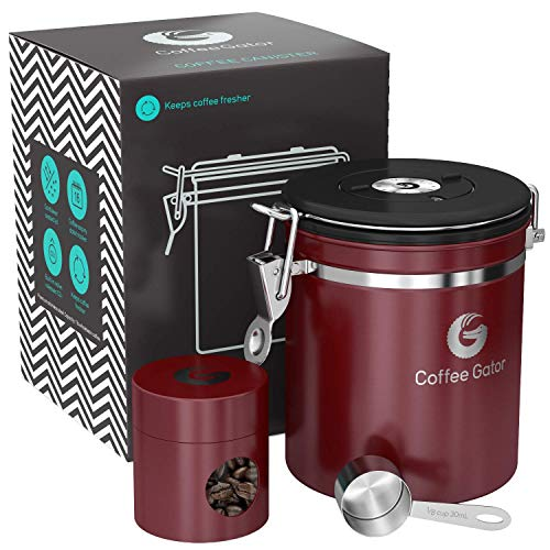 Coffee Gator Stainless Steel Container - Canister with co2 Valve, Scoop, and Travel Jar (Red, ()