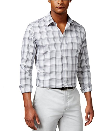 Calvin Klein Men's Long Sleeve Large Scale Herringbone Plaid Button Down Shirt, Cavern Rock, ()