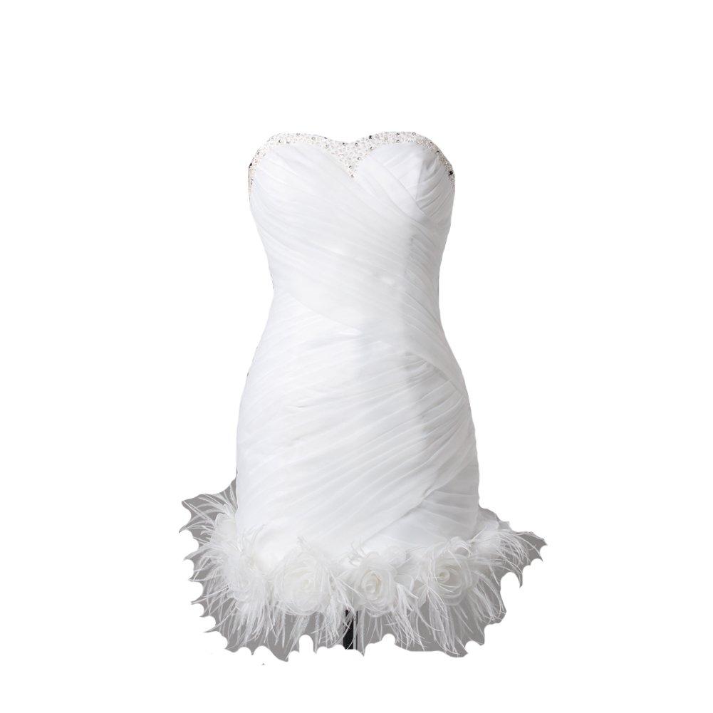 Kivary Women's Short Little White Beaded Feathers Informal Wedding Prom Cocktail Dresses US 6 by Kivary