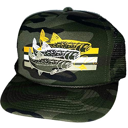 ThatsRad Trout Striped Snapback Mesh Trucker Hat Cap Fly Fishing (Camouflage)