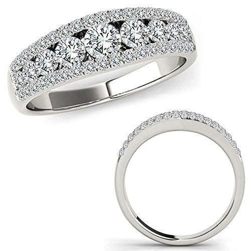8 Carat G-H Diamond Fancy Eternity Etoil Band Designer Cluster Ring 14K White Gold
