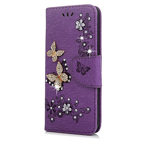 S9 Case, Galaxy S9 Wallet Case, YOKIRIN Luxury 3D Handmade Crystal Rhinestone Case Embossed Double Bling Butterfly PU Leather with Wrist Strap Stand Credit Card ID Holders & Stylus Dust Plug, Purple by YOKIRIN (Image #6)
