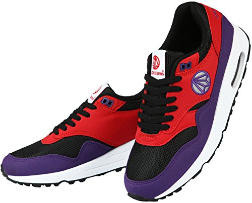 Paperplanes-1317 Unisex Fashion Air Cushion Essential Running Sneakers Black Red Purple NsUYiUpE4Z