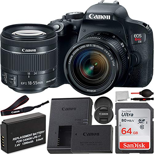 Canon EOS Rebel T7i DSLR Camera with EF-S 18-55mm f/4.0-5.6 is STM Lens and Basic Accessory Bundle – Includes SanDisk Ultra 64GB SDXC Memory Card, 1x Seller Replacement Battery, More
