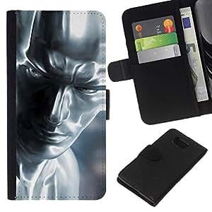 // PHONE CASE GIFT // Moda Estuche Funda de Cuero Billetera Tarjeta de crédito dinero bolsa Cubierta de proteccion Caso Samsung ALPHA G850 / Silver Man /