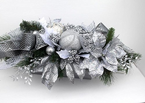 erpiece silver and white, Unique Holiday Table Décor, large Christmas Arrangement with ornaments, floral arrangement, silver holiday arrangement, silver ribbons ()