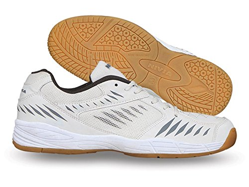 Nivia Super court Badminton Shoe, Men's 9 UK (White/Grey)