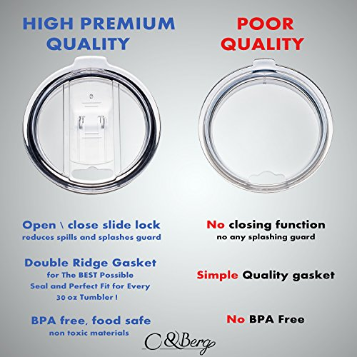 2 Splash Proof Yeti Lids and Rtic Lids, Spill Resistant With Slider Closure, fit Ozark Lids Sliding Replacement Open - Close Slide Lids, Straw Friendly by C&Berg - 2 Lids For 30 oz Tumbler