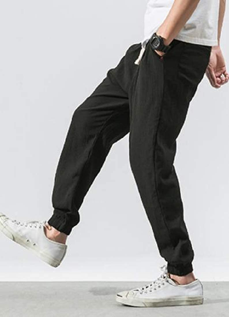 Pandapang Mens Solid Chinese Style Elastic Waist Baggy Cotton Linen Harem Pants