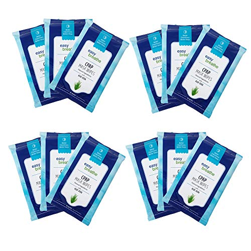 Easy Breathe CPAP Mask Wipes - 12 Travel Packs | 120 Wipes, 100% Cotton, Lint-Free, Unscented, Resealable Packs