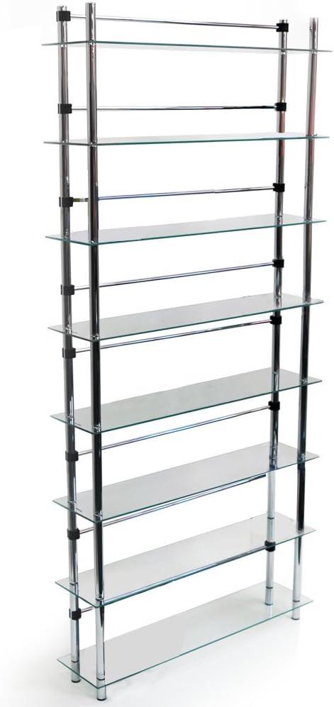 WATSONS MAXWELL - 8 Tier 344 DVD/Blu-ray / 520 CD/Media Storage Shelves - Clear/Silver