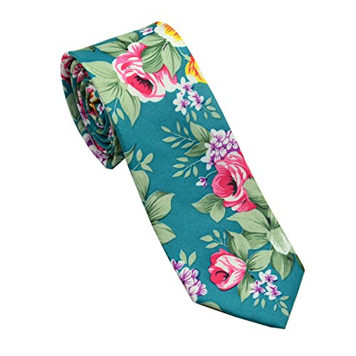 FSLESI Men Casual Fashion Floral Cotton Slim Tie Necktie (Cyan)