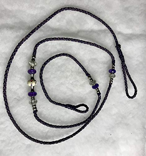 Purple 5 ft Kangaroo Leather Show Loop Lead with Bling