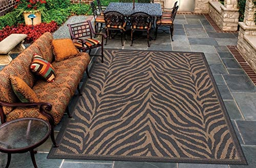 Couristan 1514 0121 Recife Zebra Black Cocoa Rug, 8-Feet 6-Inch by 13-Feet