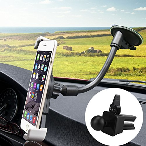 Phone Holder, BeGear 2-in-1 Flexible Long Arm Universal Windshield Car Mount Air Vent Mount Holder Cradle Compatible with iPhone X 8 Plus 7 Plus SE 6s 6 Plus 6 5s Samsung Galaxy S9 S8 S7 S6 and More