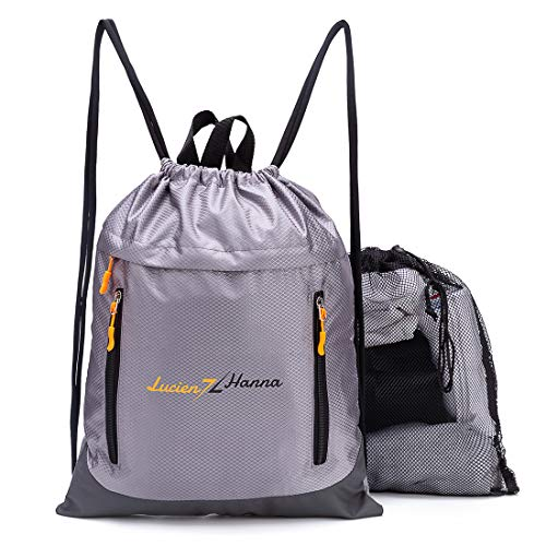 Drawstring Backpack Sports Athletic Cinch Sack Gymsack Gym String Bag and Extra Durable Mesh Bag Grey ()