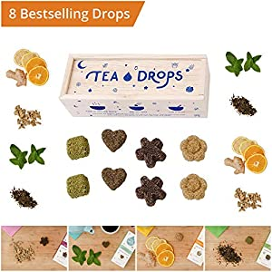 Tea Drops Instant Organic Pressed Teas - Medium Herbal Tea Sampler Assortment Box - Dissolves in your Cup Eliminating the Need for Teabags and Sweetener Packets - Loose Leaf Tea without the Fuss - Gre