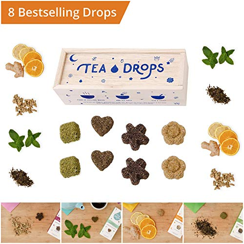 Tea Drops Instant Organic Pressed Teas - Medium Herbal Tea Sampler Assortment Box - Dissolves in your Cup Eliminating the...