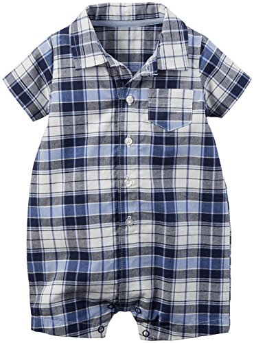 Carter's Baby Boys' 1pc Romper Navy and Blue Plaid