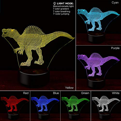 Creative Acanthosis Dinosaur 3d Visual Illusion Led Lamp Acrylic Table Desk Effect LED Night Light 7 Color Change with Touch Botton Home Decorations for Bedroom Kids Living Room Decors Gfits
