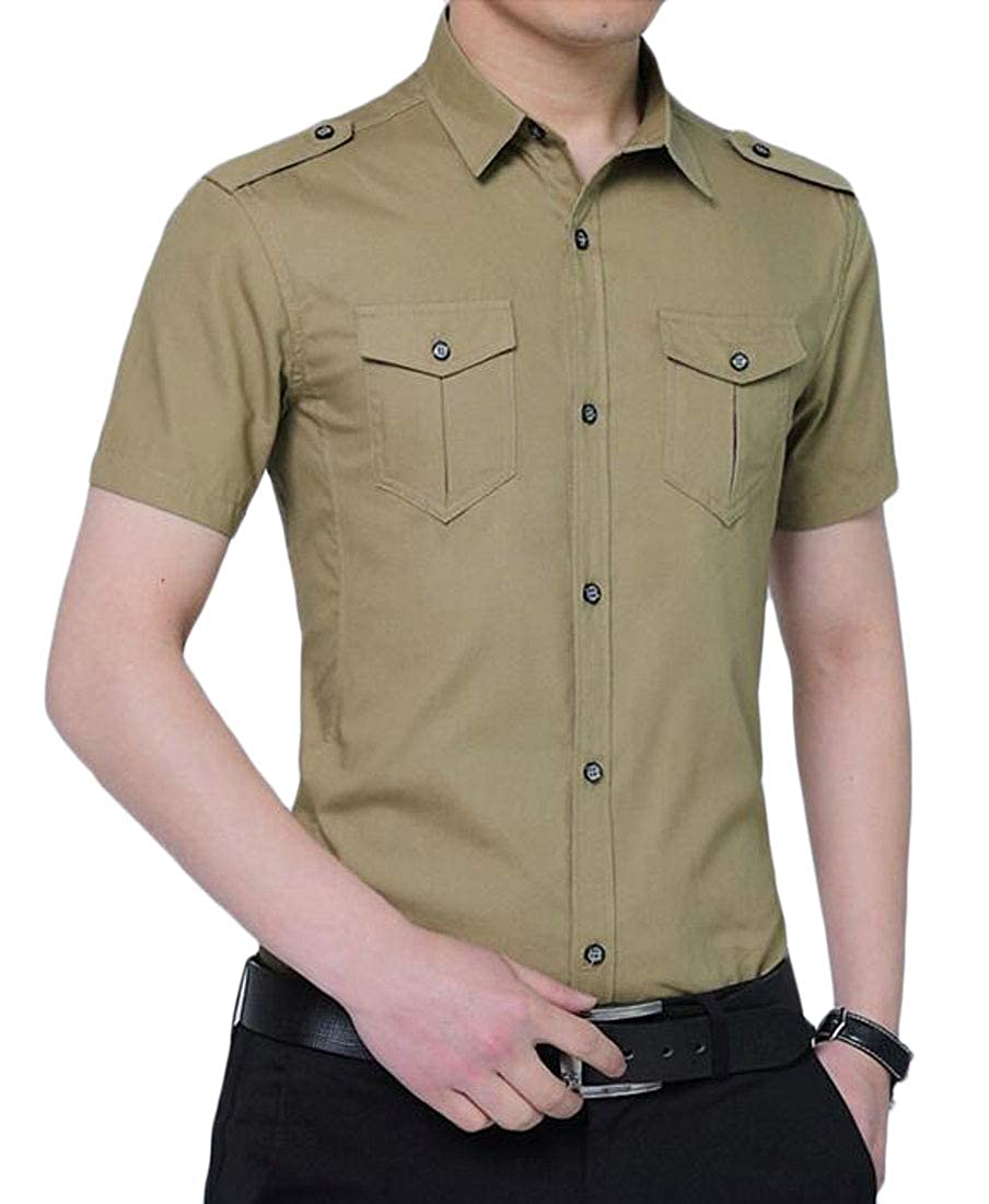 OTW Mens Slim Cotton Solid Color Button Down with Pockets Summer Short Sleeve Cargo Shirt