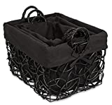 BirdRock Home Decorative Willow Basket Set with Liner | Set of 3 | Double Handle Wooden Basket | Rectangular Wicker Storage Bin | Black