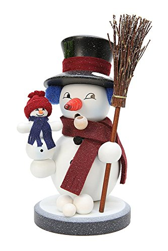German Incense Smoker Snowy - 22,5 cm / 9 inch - Christian Ulbricht by Authentic German Erzgebirge Handcraft
