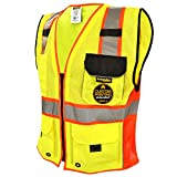 KwikSafety SUPREME Safety Vest | Class 2 ANSI OSHA PPE | High Visibility Reflective Stripes, Heavy Duty Mesh with Pockets and Zipper | Hi-Vis Construction Work Hi-Vis Engineer | Men Red Trim Medium