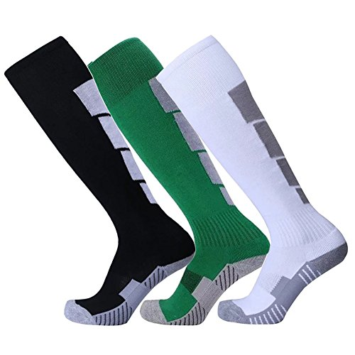 Compression Soccer Socks for Men Youth Football Stocking for Runing Knee High 3 Pairs (Black Green (Youth Nylon Pro Football Sock)