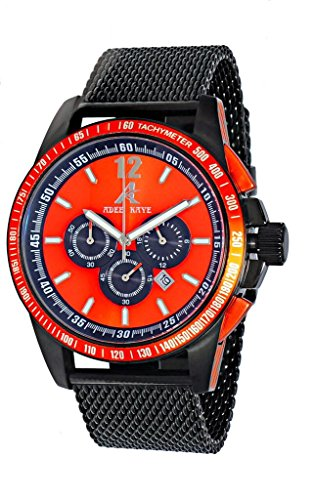 Adee Kaye AK7141 Men's Sporty Chronograph Watch w/ Anti Reflection Crystal-IP Black tone/Orange