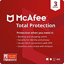 McAfee Total Protection 2021,3 Device, Antivirus Internet Security Software, VPN, Password Manager, Privacy, 1 Year with Auto Renewal - Amazon Exclusive Subscription