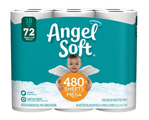 Devonshire Two Toilets Piece (Angel Soft Toilet Paper, 18 Mega Rolls)